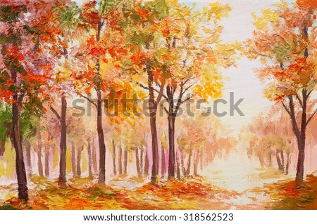 Oil painting landscape - colorful autumn forest - stock photo