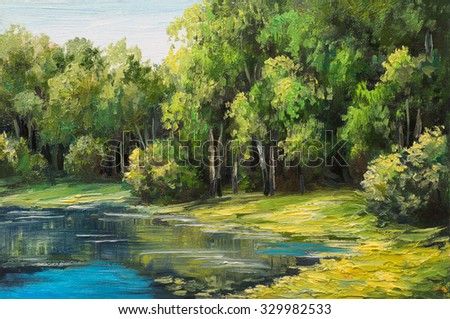 Oil painting landscape - lake in the forest, summer day - stock photo