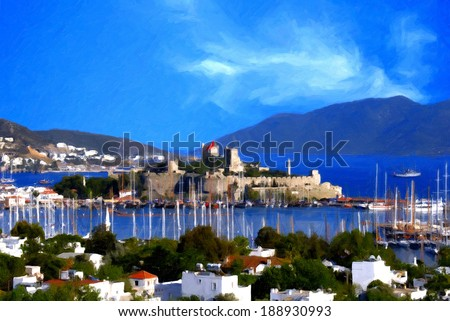 Oil painting landscape of beautiful tourism city Bodrum - stock photo