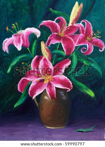 Oil-Painting - Lily - stock photo