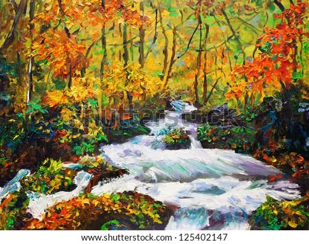 Oil Painting - Maple in Autumn - stock photo