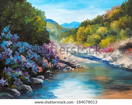 Oil Painting - mountain river, flowers near the rocks, forest - stock photo