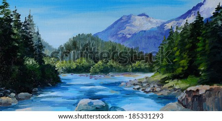 Oil Painting - mountain river, rocks and forest, abstract drawing - stock photo