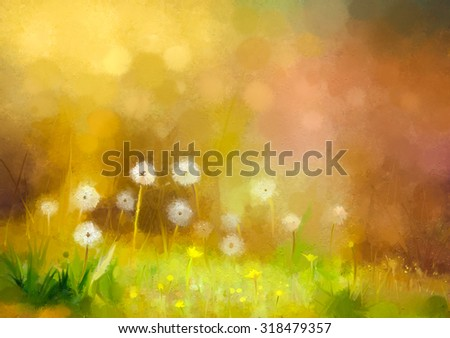 Oil painting nature grass flowers. Hand paint close up dandelions, pastel floral and shallow depth of field. Blurred nature background.Spring flowers background with bokeh - stock photo