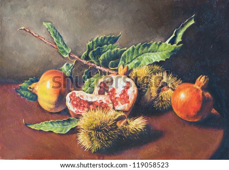 oil painting of a still life - stock photo