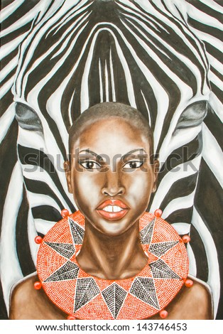 Oil painting of an african woman and zebra . - stock photo