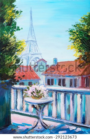 Oil painting of eiffel tower, France - stock photo
