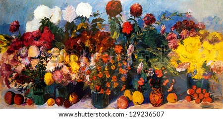 Oil painting of flowers and fruits on canvas - stock photo