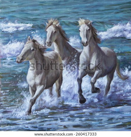 oil painting of horses by the sea - stock photo