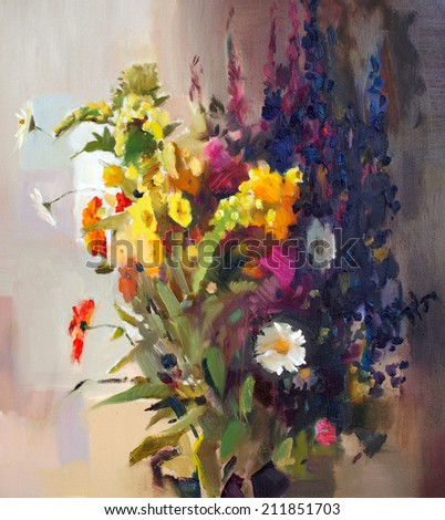 Oil painting of the beautiful flowers. - stock photo