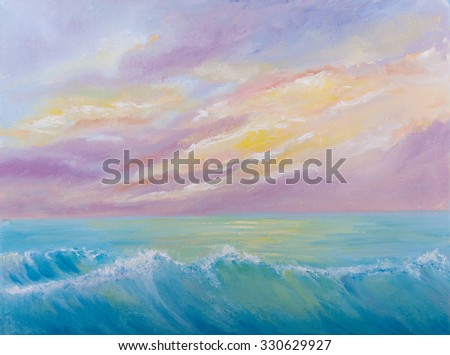 Oil painting of the Beautiful sunset over sea - stock photo