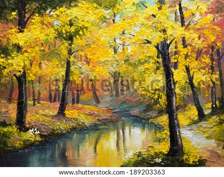 oil painting on canvas - autumn forest - stock photo