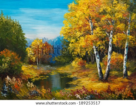 oil painting on canvas - autumn forest with a lake - stock photo