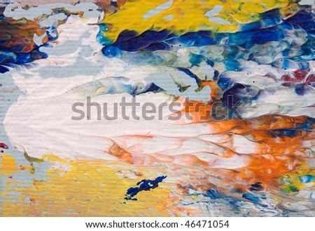 oil painting on canvas - brush strokes, detail of impressionist art work - stock photo