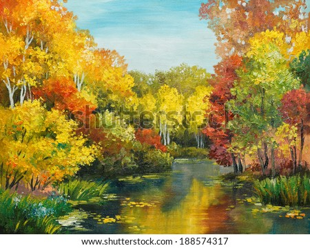 oil painting on canvas - colorfull autumn forest - stock photo