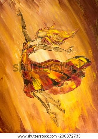 Oil painting on Canvas, Fire ballerina - stock photo