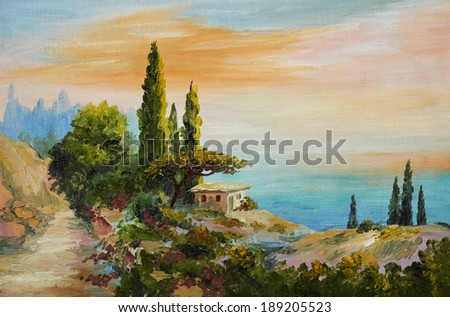 oil painting on canvas - house on the beach - stock photo