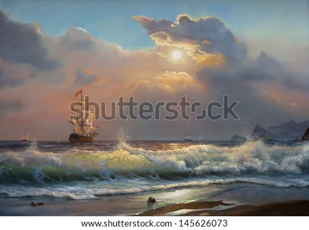 Oil painting on canvas , sailboat against a background of sea  - stock photo