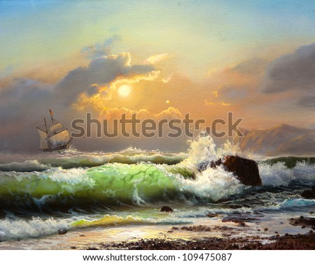 Oil painting on canvas , sailboat against a background of sea sunset - stock photo