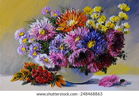Oil painting on canvas - still life flowers on the table - stock photo