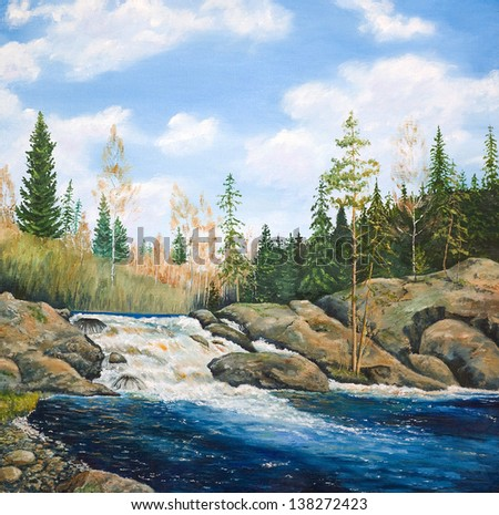 Oil painting on canvas. Waterfall - stock photo
