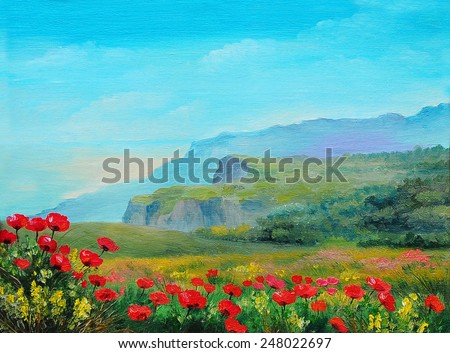 Oil painting - poppy field in the mountains - stock photo