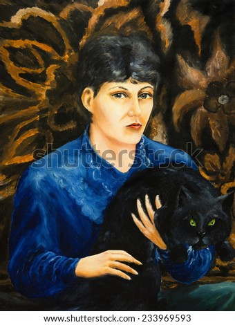 Oil painting. Portrait of a girl with a black cat - stock photo