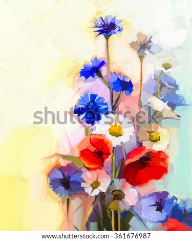 Oil painting red poppy flowers, blue cornflower and white daisy. Flower paint in soft color and blur style, Soft light yellow green background. Spring floral seasonal nature background  - stock photo
