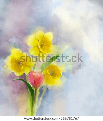 Oil painting  red tulip and yellow daffodils flowers in soft color. Water color texture on grunge paper background   - stock photo