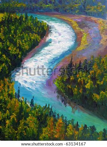 Oil Painting - Rushing Stream - stock photo