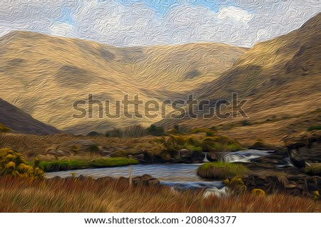 oil painting showing scenic nature capture in the west of ireland - stock photo