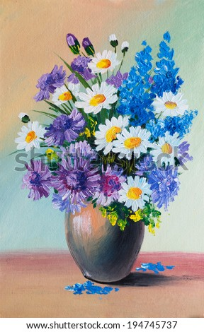 Oil Painting - still life, a bouquet of flowers - stock photo