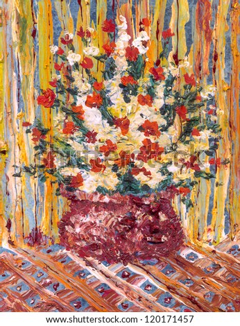 Oil painting. Still life of a lush bouquet of fresh and fragrant flowers in a vase on the general background striped walls and tablecloths with ornaments - stock photo