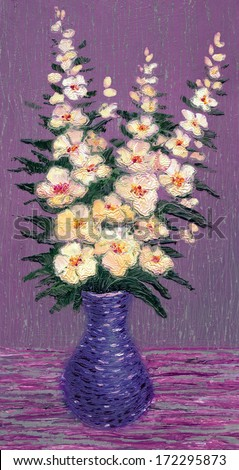 Oil painting. Still life of a vase with a bouquet of delicate light flowers - stock photo
