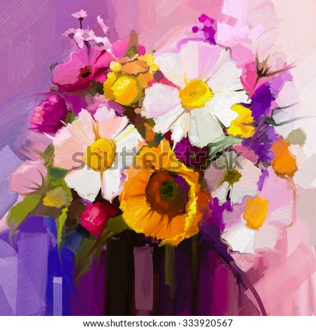Oil painting still life of white, yellow and red flower. Hand Painted floral Gerbera, Daisy and sunflower and green leaf bouquet. Spring flowers in vase - stock photo