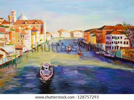 Oil Painting - Venice, Italy - stock photo