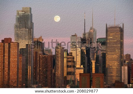 oil painting vibrant new york city late evening, usa - stock photo