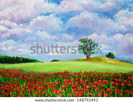 Oil Painting - Wild Flowers - stock photo