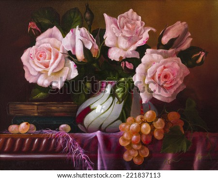 oil painting with flowers roses, still life painting - stock photo