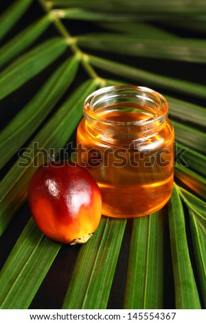 Oil palm fruits and oil bottle on a leaves background - stock photo