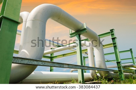 Oil pipelines and Gas pipelines - stock photo