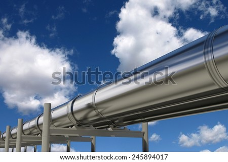 Oil pipelines isolated on blue sky - stock photo