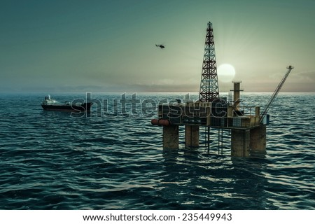 Oil platform and tanker in the sea - stock photo