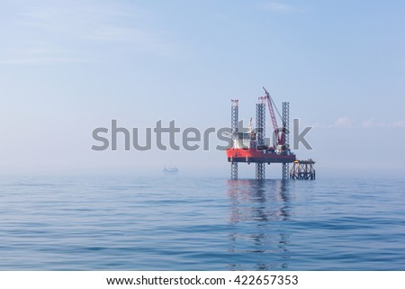 Oil platform in Canada - stock photo