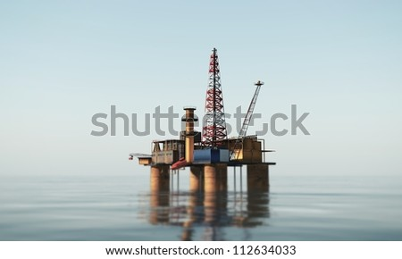 oil platform in the sea - stock photo