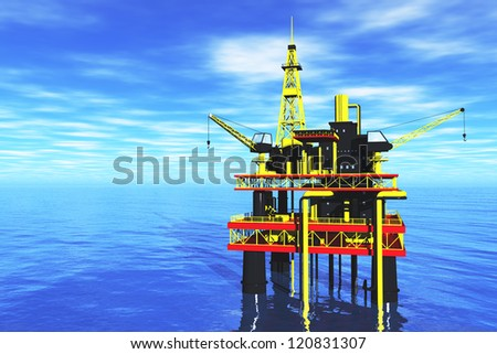 Oil Platform in the Sea  3D render - stock photo