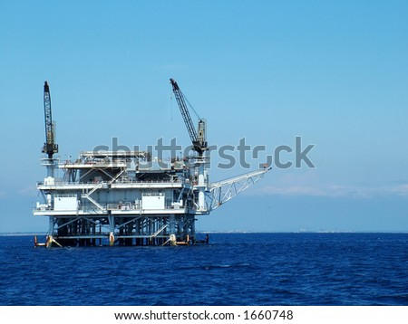 Oil Platform off California coast, up close - stock photo