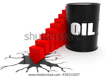 Oil price suddenly fall through the floor, isolated on white, 3D rendering - stock photo