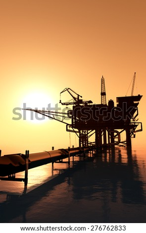 Oil production in the evening sky. - stock photo