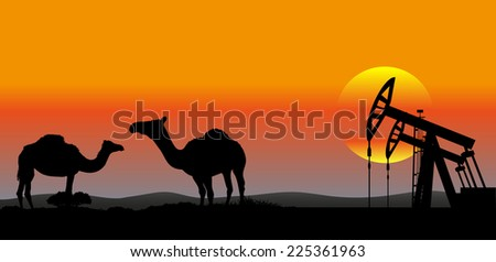 oil production Middle East industrial background - stock photo